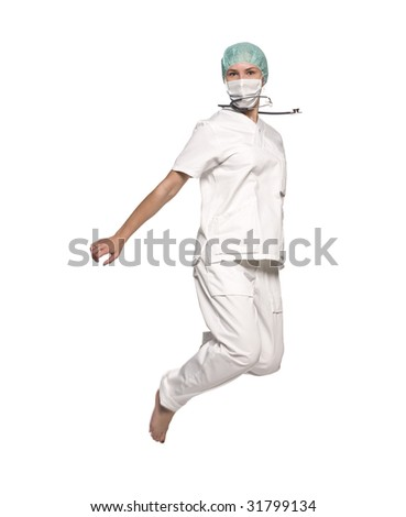 Jumping nurse with a stethoscope