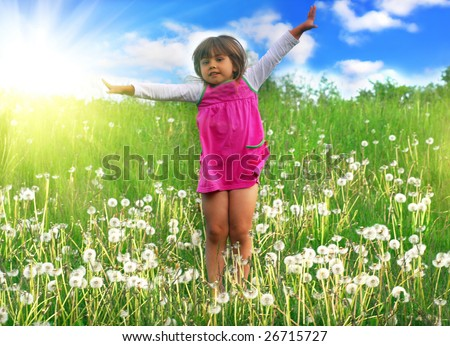 Jumping on the meadow - stock photo