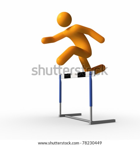 Jumping over hurdle.