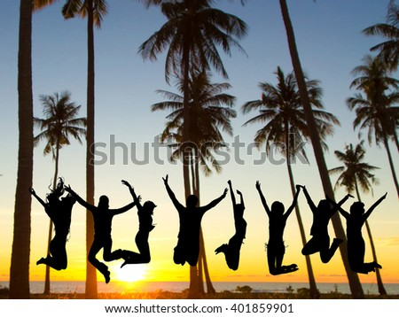 Jumping over Sunset Friends Silhouettes