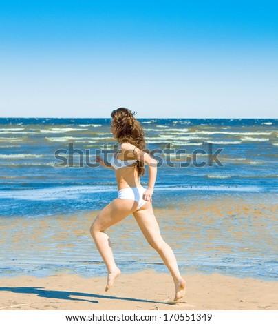 Jumping Pleasure Joy  - stock photo