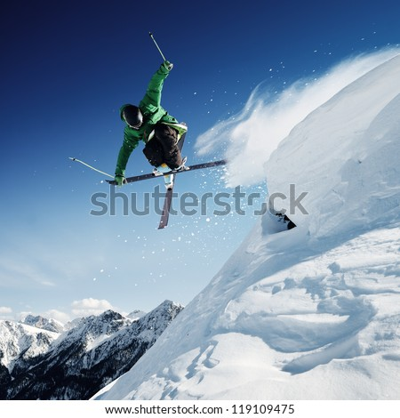 Jumping skier - stock photo