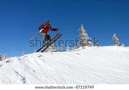 Jumping skier - stock photo
