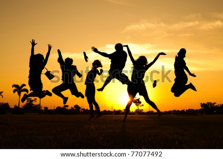 Jumping Team - stock photo