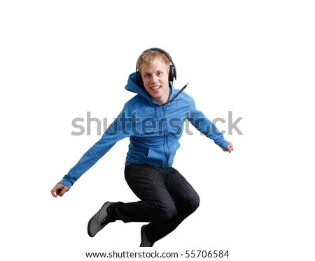 Jumping teenager listening to music