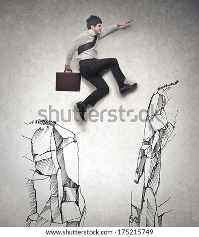 jumping the hole - stock photo