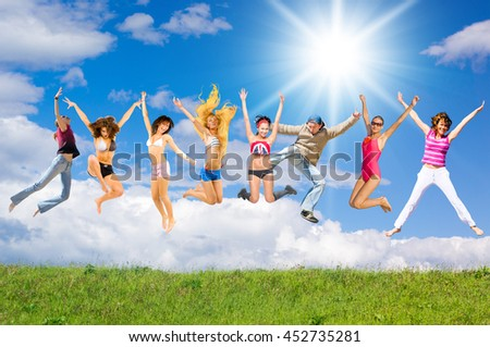 Jumping Together Pure Joy  - stock photo