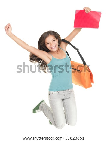 Jumping university student isolated on white background. Beautiful smiling mixed race caucasian / chinese young woman model - stock photo
