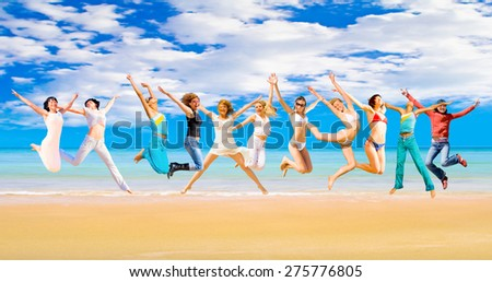 Jumping Wild Summer Exercise  - stock photo
