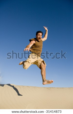 Jumping with Joy - stock photo