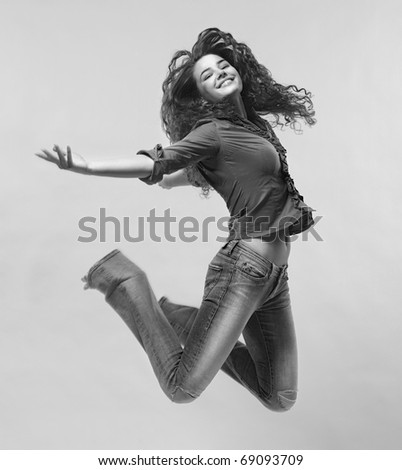 Jumping Woman. Black And White - stock photo