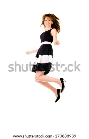 jumping woman isolated on a white background