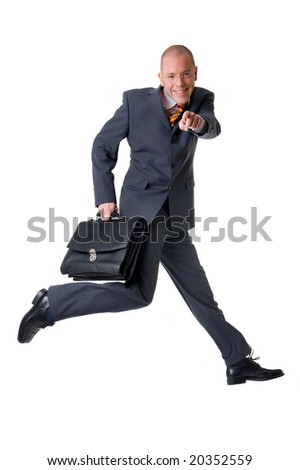 Jumping (young and successful) businessman. Full isolated studio picture - stock photo