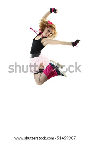 Jumping young girl against white background