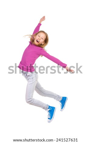 Jumping young girl with arm raised and mouth open. Full length studio shot isolated on white. - stock photo