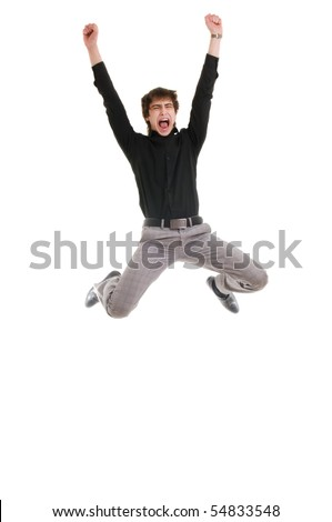 Jumping young man. Isolated over white. - stock photo