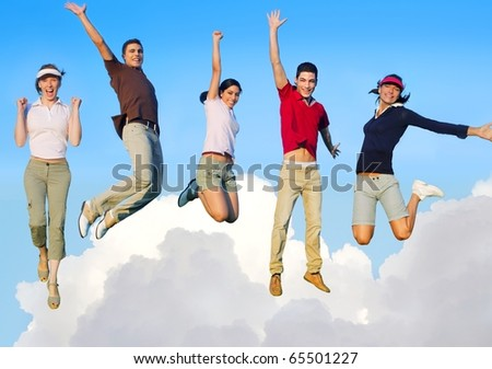 Jumping young people happy group flying in sky clouds [Photo Illustration] - stock photo