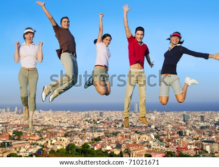 Jumping young people happy group over city buildings cityscape [Photo Illustration]