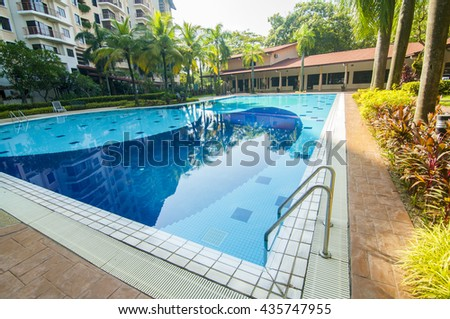 JUN 06, 2016 - Damansara, Malaysia: the outdoor swimming pool at Casa Impian Apartment which can hold from 700,000 to 850,000 gallons of water.