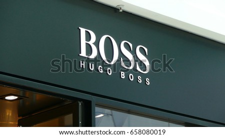 JUN 11, 2017 MOSCOW, RUSSIA: Shop (store - retail) - HUGO BOSS in Metropolis mall