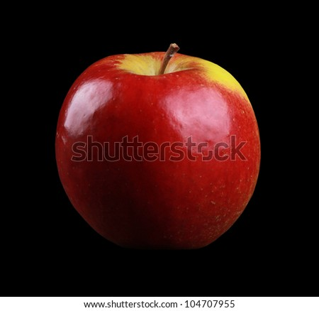 Junami Apple isolated on black - stock photo
