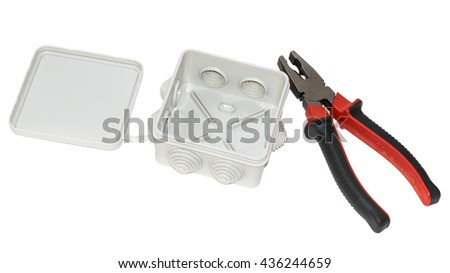 junction box for electrical wiring and pliers isolated on white background - stock photo