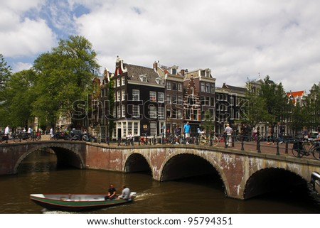 Junction of Keizersgracht and Leliegracht in Amsterdam in the Netherlands in Europe. - stock photo