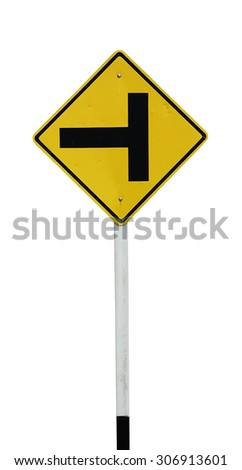 junction road traffic sign on white - stock photo