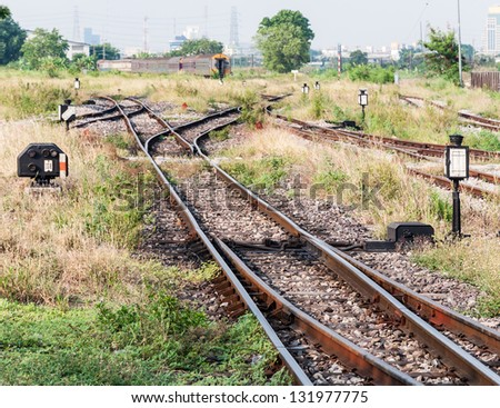 Junction yard to the locomotive area of urban station. - stock photo