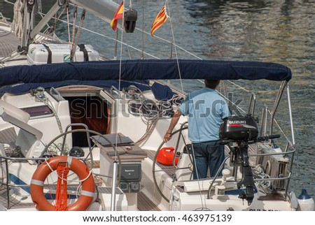 JUNE 18, 2011 - BARCELONA, SPAIN: The yacht entrance to Port Olimpic at Barcelona, Spain