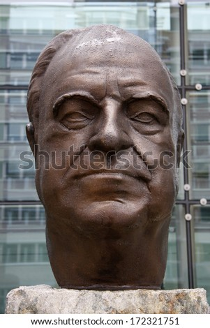 JUNE 2011 - BERLIN: a statue/ bust of former German Chancellor Helmut Kohl (by Serge Mangin) at the headquarters of the Axel-Springer publishing company in Berlin.