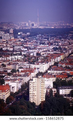 "JUNE 2004 - BERLIN: the skyline of Berlin seen from the ""Funkturm""."
