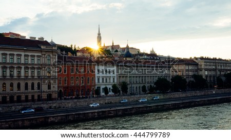 June 28, 2016 - Budapest, Hungary: The last sun rays shine over the Fisherman's Bastion on June 28, 2016 in Budapest, Hungary