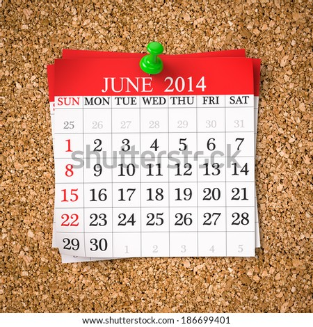 June 2014  Calendar on cork board , 3d render - stock photo