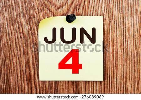 June 4 Calendar. Part of a set - stock photo