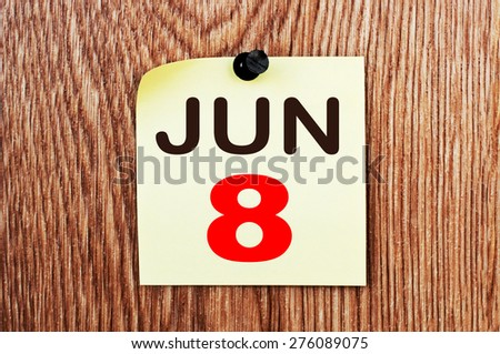 June 8 Calendar. Part of a set - stock photo