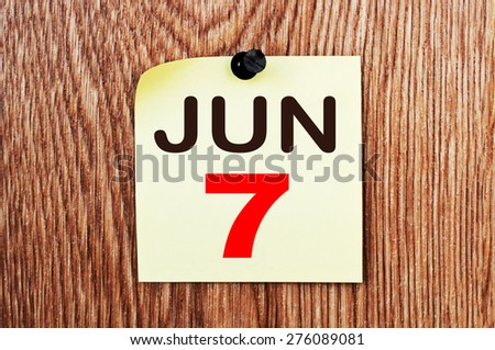 June 7 Calendar. Part of a set - stock photo