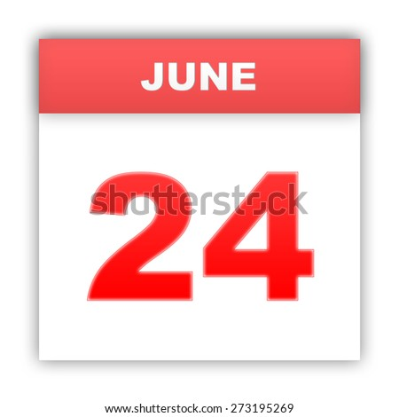 June 24. Day on the calendar. 3d - stock photo