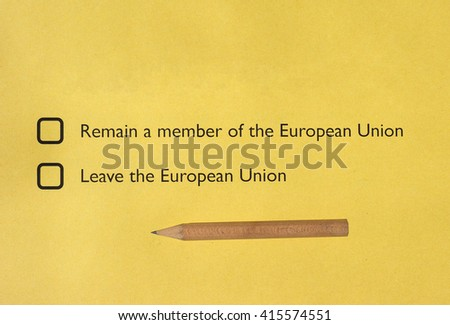 June 23 referendum: Should the United Kingdom remain a member of the European Union or leave the European Union. The poll is aka Brexit meaning Britain exit - stock photo