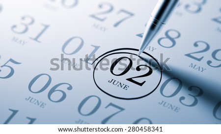 June 02 written on a calendar to remind you an important appointment. - stock photo