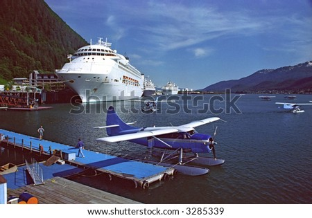 juneau alaska harbor with cruise ships and seaplanes