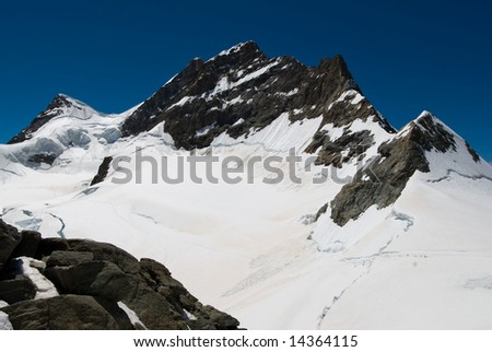 Jungfrau mountain peak, view from Jungfraujoch, switzerland.