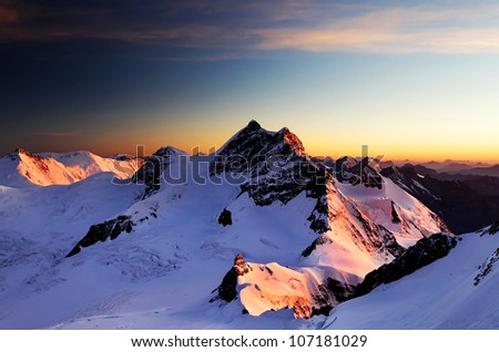 Jungfrau Peak (4158m), Switzerland - UNESCO Heritage - stock photo