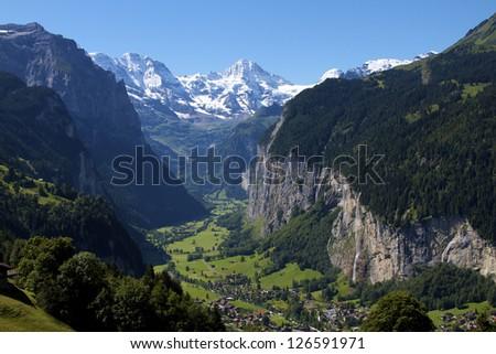 Jungfrau Valley in Switzerland - stock photo