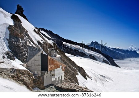 Jungfraujoch, Swiss Alps Jungfraujoch railway station, which at an elevation of 3,454 meters (11,332 ft) is the highest railway station in Europe - stock photo