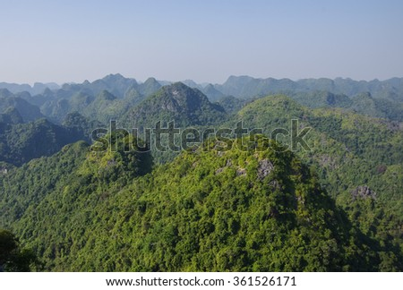 Jungle and mountain panorama of Cat Ba National Park, Cat Ba island, Vietnam.  - stock photo