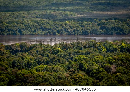 Jungle And The Amazon River Landscape, Guyana, South America