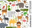 Jungle animals seamless pattern. Crocodile and wild safari, monkey and snake, lizard and camel, rhinoceros and hippopotamus - stock vector