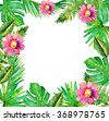 Jungle border  frame with rich tropical green leaves and pink flowers. Watercolor illustration. - stock photo