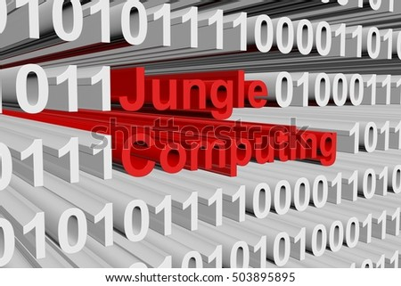 Jungle computing in binary code, 3D illustration